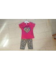 shirt met bijpassende legging panterprint fuchsia