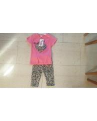 shirt met bijpassende legging panterprint roze